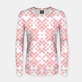 Thumbnail image of Abstract geometric pattern - pink and white. Women sweater, Live Heroes