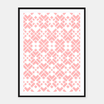 Miniaturka Abstract geometric pattern - pink and white. Framed poster, Live Heroes