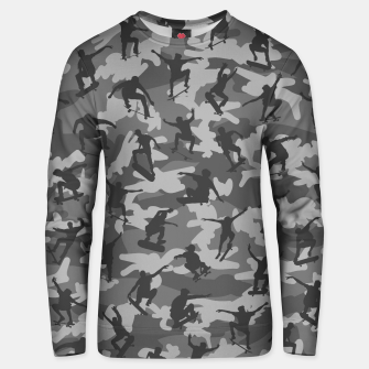 Thumbnail image of Skater Camo B&W skateboarding graffiti camouflage pattern for skateboarder boys and girls Unisex sweater, Live Heroes