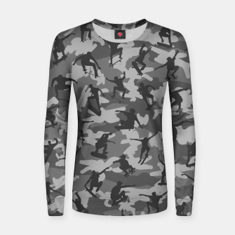 Miniature de image de Skater Camo B&W skateboarding graffiti camouflage pattern for skateboarder boys and girls Women sweater, Live Heroes