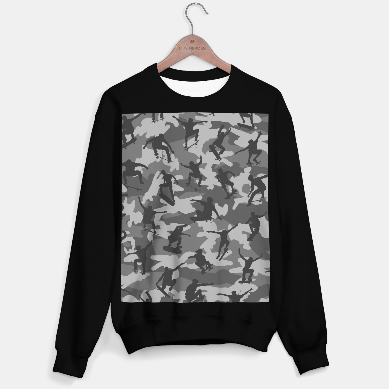 Image of Skater Camo B&W skateboarding graffiti camouflage pattern for skateboarder boys and girls Sweater regular - Live Heroes