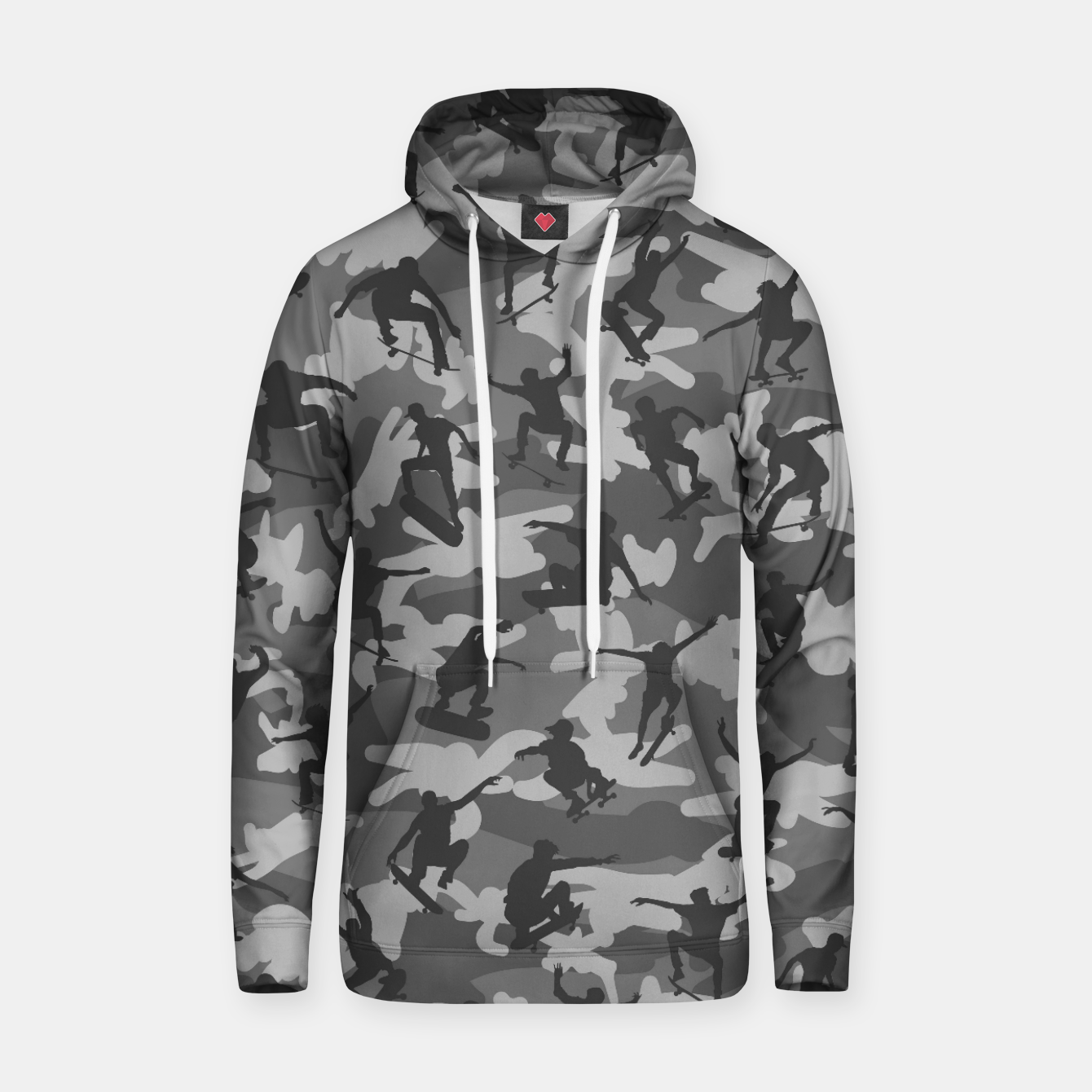 Image of Skater Camo B&W skateboarding graffiti camouflage pattern for skateboarder boys and girls Hoodie - Live Heroes