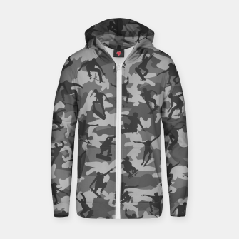 Thumbnail image of Skater Camo B&W skateboarding graffiti camouflage pattern for skateboarder boys and girls Zip up hoodie, Live Heroes
