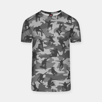 Thumbnail image of Skater Camo B&W skateboarding graffiti camouflage pattern for skateboarder boys and girls T-shirt, Live Heroes
