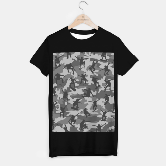 Thumbnail image of Skater Camo B&W skateboarding graffiti camouflage pattern for skateboarder boys and girls T-shirt regular, Live Heroes