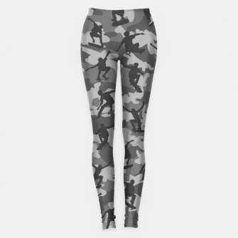 Miniatur Skater Camo B&W skateboarding graffiti camouflage pattern for skateboarder boys and girls Leggings, Live Heroes