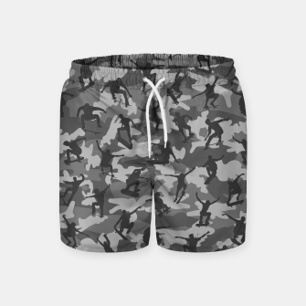 Thumbnail image of Skater Camo B&W skateboarding graffiti camouflage pattern for skateboarder boys and girls Swim Shorts, Live Heroes