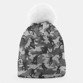 Miniatur Skater Camo B&W skateboarding graffiti camouflage pattern for skateboarder boys and girls Beanie, Live Heroes