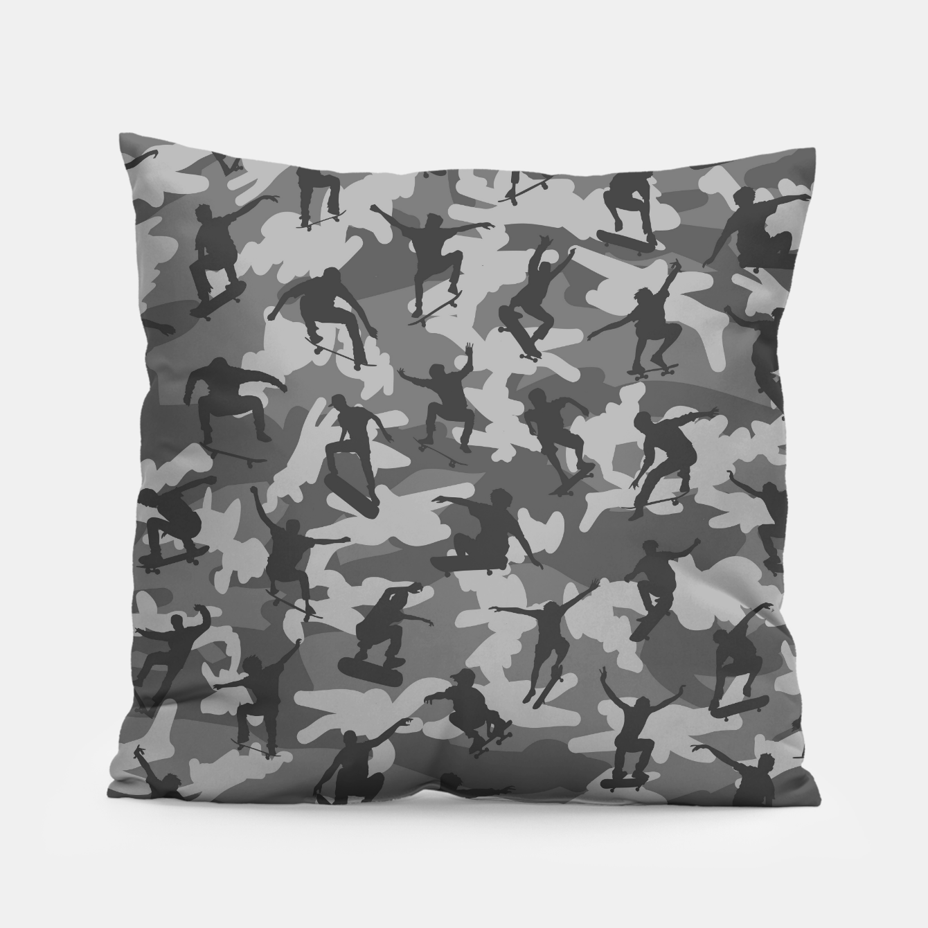 Image of Skater Camo B&W skateboarding graffiti camouflage pattern for skateboarder boys and girls Pillow - Live Heroes