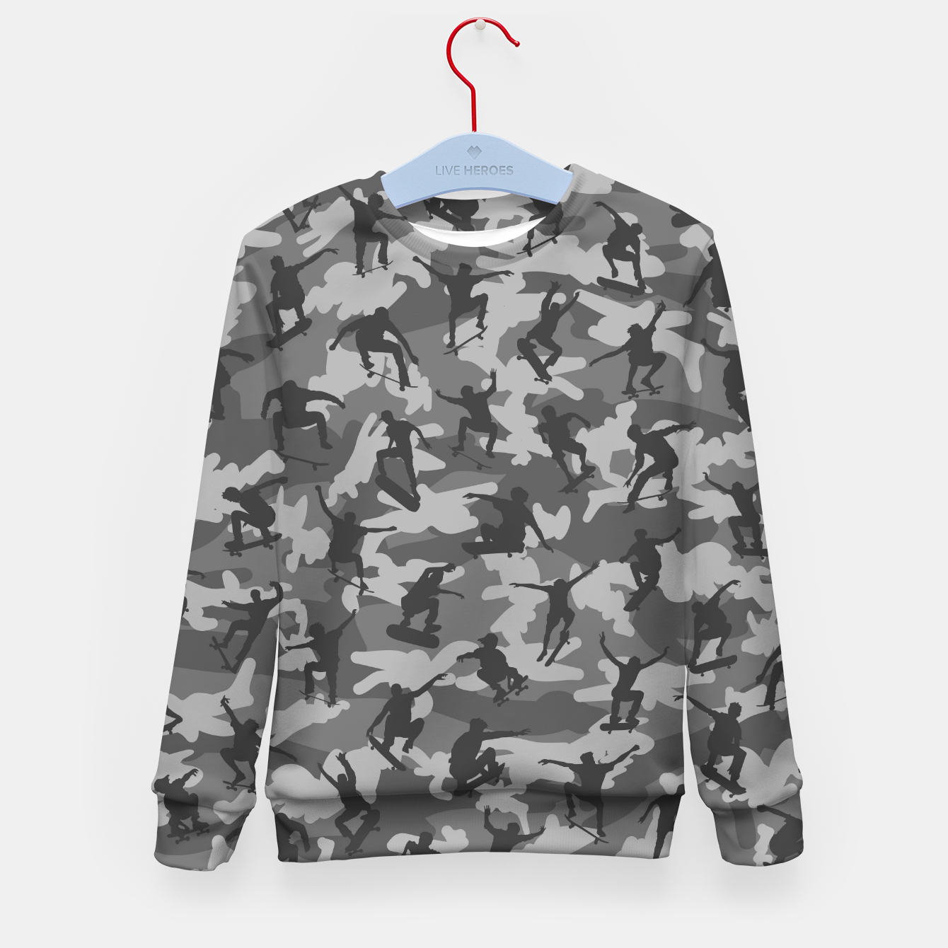 Image of Skater Camo B&W skateboarding graffiti camouflage pattern for skateboarder boys and girls Kid's sweater - Live Heroes