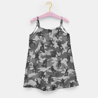 Skater Camo B&W skateboarding graffiti camouflage pattern for skateboarder boys and girls Girl's dress thumbnail image