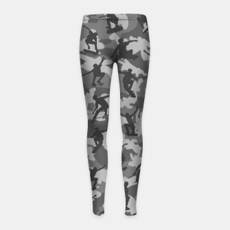 Skater Camo B&W skateboarding graffiti camouflage pattern for skateboarder boys and girls Girl's leggings thumbnail image