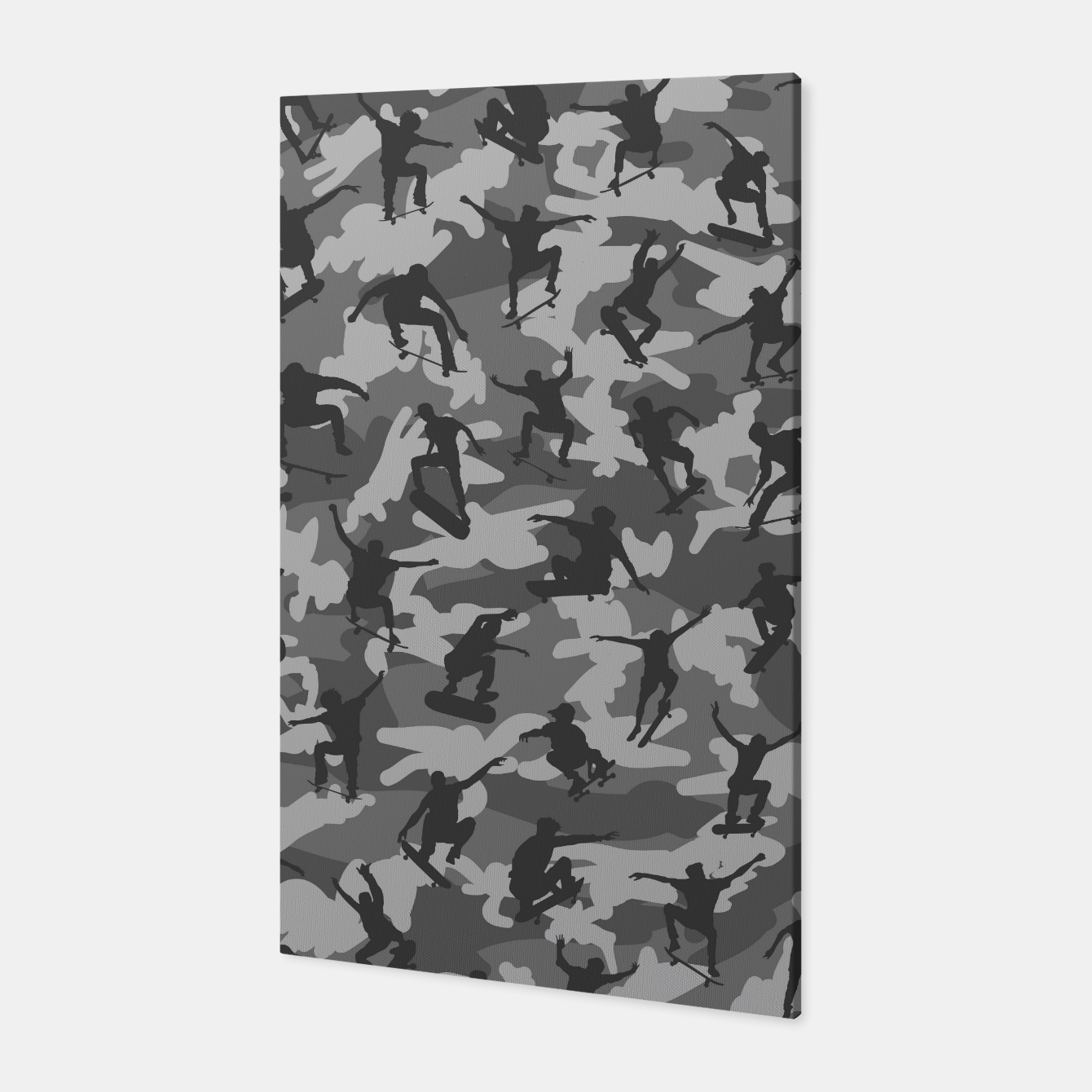 Image of Skater Camo B&W skateboarding graffiti camouflage pattern for skateboarder boys and girls Canvas - Live Heroes