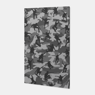 Skater Camo B&W skateboarding graffiti camouflage pattern for skateboarder boys and girls Canvas thumbnail image