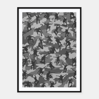 Skater Camo B&W skateboarding graffiti camouflage pattern for skateboarder boys and girls Framed poster thumbnail image