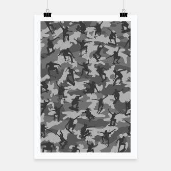 Miniatur Skater Camo B&W skateboarding graffiti camouflage pattern for skateboarder boys and girls Poster, Live Heroes