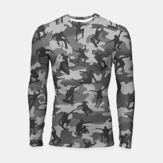 Thumbnail image of Skater Camo B&W skateboarding graffiti camouflage pattern for skateboarder boys and girls Longsleeve rashguard , Live Heroes