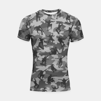 Thumbnail image of Skater Camo B&W skateboarding graffiti camouflage pattern for skateboarder boys and girls Shortsleeve rashguard, Live Heroes