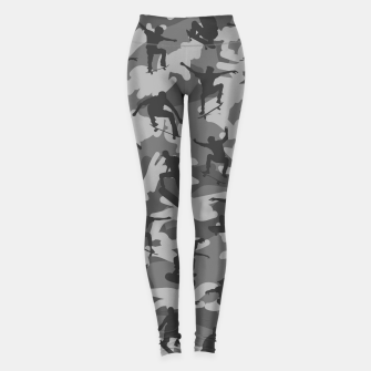 Skater Camo B&W skateboarding graffiti camouflage pattern for skateboarder boys and girls Leggings thumbnail image