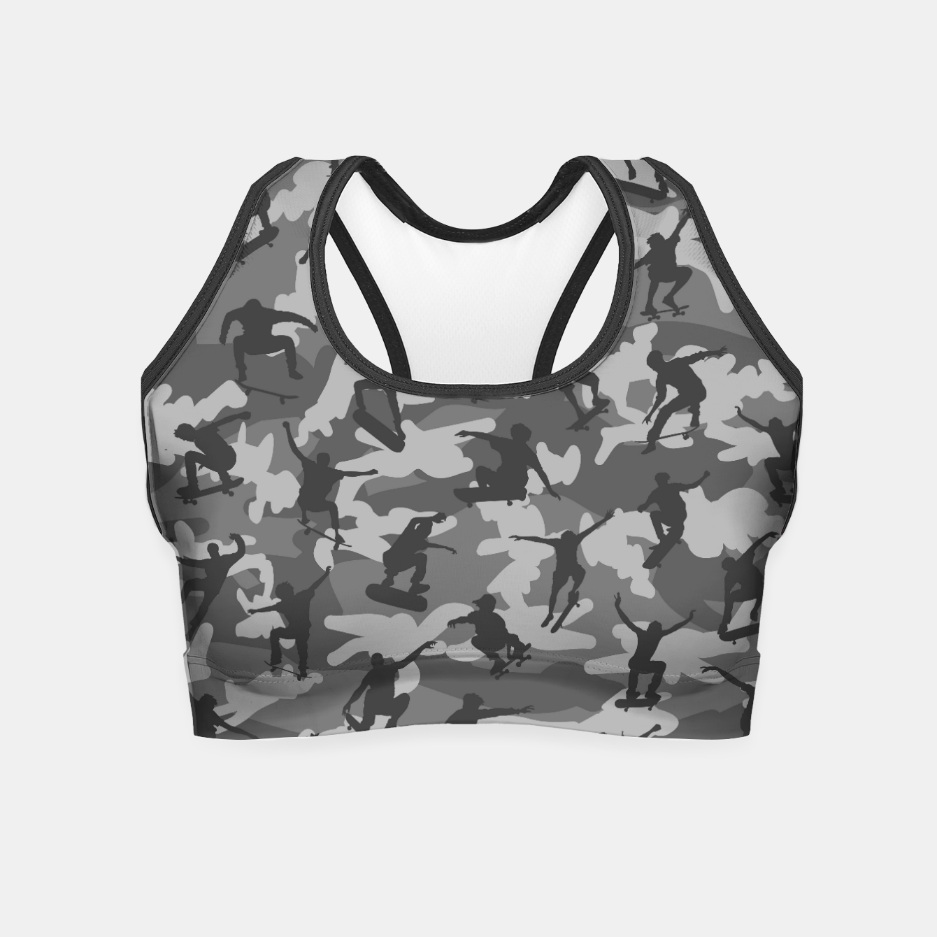Image of Skater Camo B&W skateboarding graffiti camouflage pattern for skateboarder boys and girls Crop Top - Live Heroes