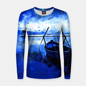 Thumbnail image of sunrise boat silence watercolor splatters cool blue Women sweater, Live Heroes