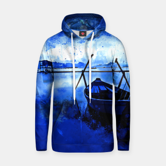 Thumbnail image of sunrise boat silence watercolor splatters cool blue Hoodie, Live Heroes