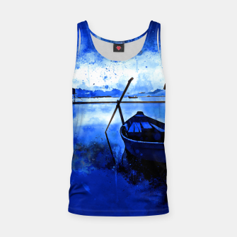 Thumbnail image of sunrise boat silence watercolor splatters cool blue Tank Top, Live Heroes