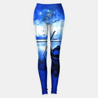 Thumbnail image of sunrise boat silence watercolor splatters cool blue Leggings, Live Heroes