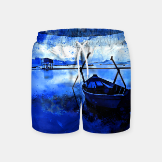 Thumbnail image of sunrise boat silence watercolor splatters cool blue Swim Shorts, Live Heroes