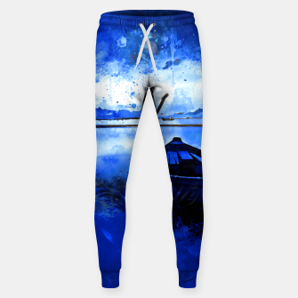 Thumbnail image of sunrise boat silence watercolor splatters cool blue Sweatpants, Live Heroes