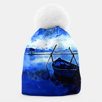 Thumbnail image of sunrise boat silence watercolor splatters cool blue Beanie, Live Heroes