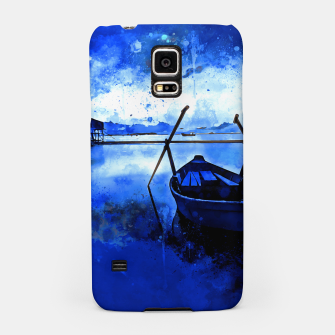 Thumbnail image of sunrise boat silence watercolor splatters cool blue Samsung Case, Live Heroes