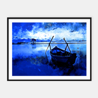 Thumbnail image of sunrise boat silence watercolor splatters cool blue Framed poster, Live Heroes