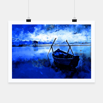 Thumbnail image of sunrise boat silence watercolor splatters cool blue Poster, Live Heroes