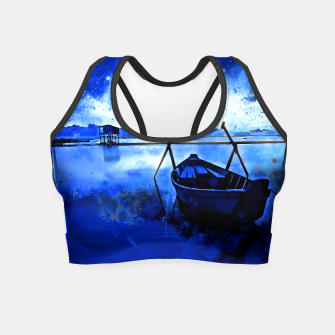 Thumbnail image of sunrise boat silence watercolor splatters cool blue Crop Top, Live Heroes