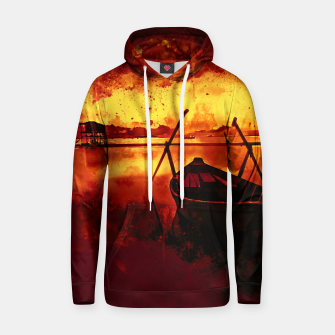 Thumbnail image of sunrise boat silence watercolor splatters edgy ember Hoodie, Live Heroes