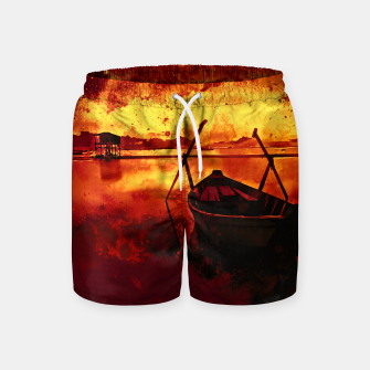 Thumbnail image of sunrise boat silence watercolor splatters edgy ember Swim Shorts, Live Heroes