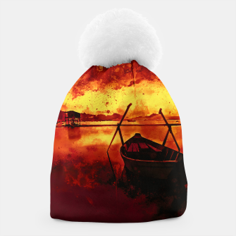 Thumbnail image of sunrise boat silence watercolor splatters edgy ember Beanie, Live Heroes