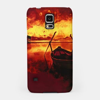 Thumbnail image of sunrise boat silence watercolor splatters edgy ember Samsung Case, Live Heroes
