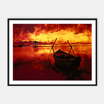 Thumbnail image of sunrise boat silence watercolor splatters edgy ember Framed poster, Live Heroes