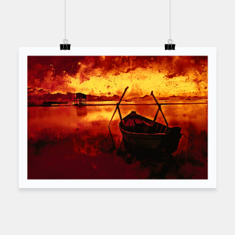 Thumbnail image of sunrise boat silence watercolor splatters edgy ember Poster, Live Heroes