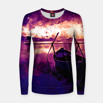Thumbnail image of sunrise boat silence watercolor splatters late sunset Women sweater, Live Heroes