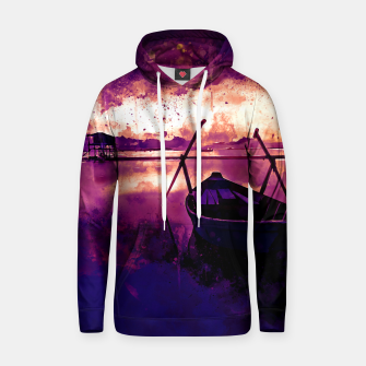Thumbnail image of sunrise boat silence watercolor splatters late sunset Hoodie, Live Heroes