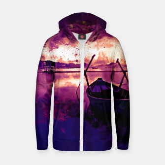 Thumbnail image of sunrise boat silence watercolor splatters late sunset Zip up hoodie, Live Heroes