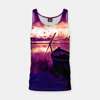 Thumbnail image of sunrise boat silence watercolor splatters late sunset Tank Top, Live Heroes