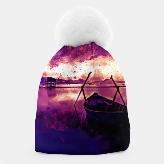 Thumbnail image of sunrise boat silence watercolor splatters late sunset Beanie, Live Heroes