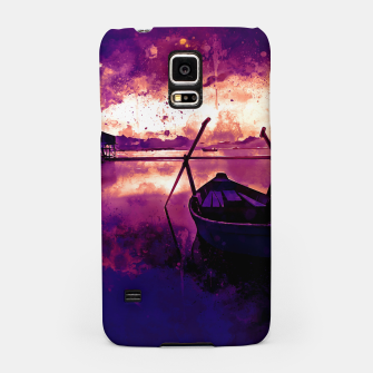 Thumbnail image of sunrise boat silence watercolor splatters late sunset Samsung Case, Live Heroes