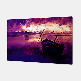 Thumbnail image of sunrise boat silence watercolor splatters late sunset Canvas, Live Heroes