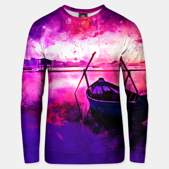 Thumbnail image of sunrise boat silence watercolor splatters Unisex sweater, Live Heroes