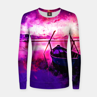 Thumbnail image of sunrise boat silence watercolor splatters Women sweater, Live Heroes